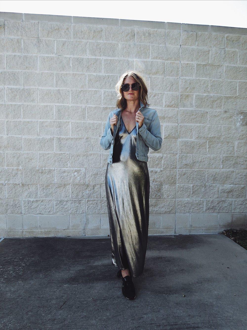 houston fashion blog, metallic slip dress, houston style blog, hey jode