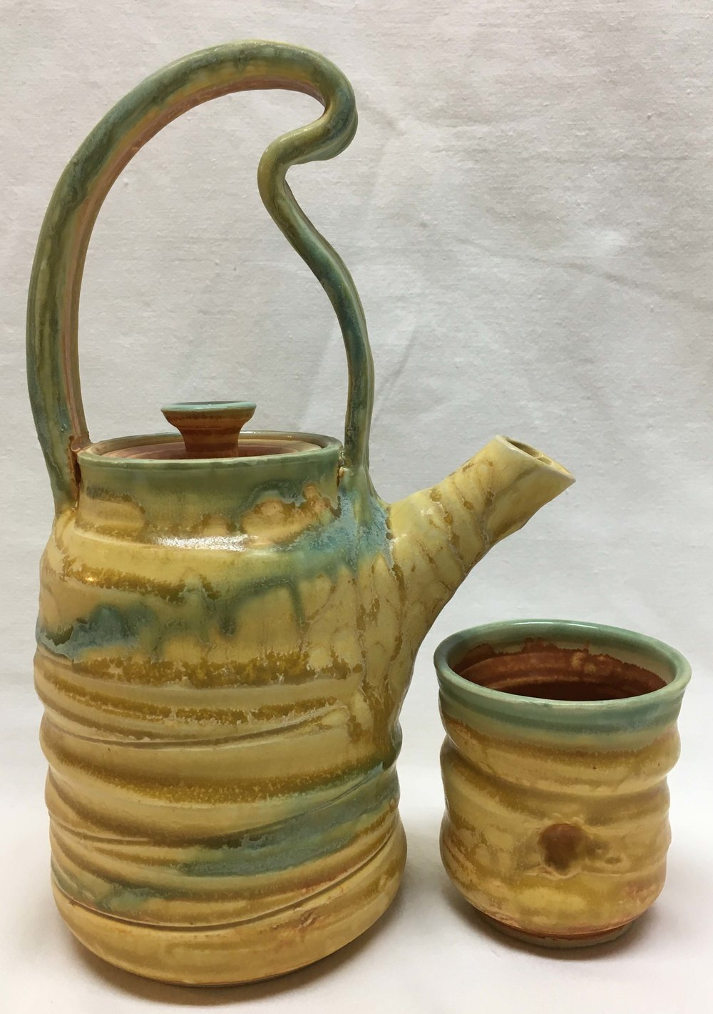 Quirky Teapot and Cup - Deborah Wheeler