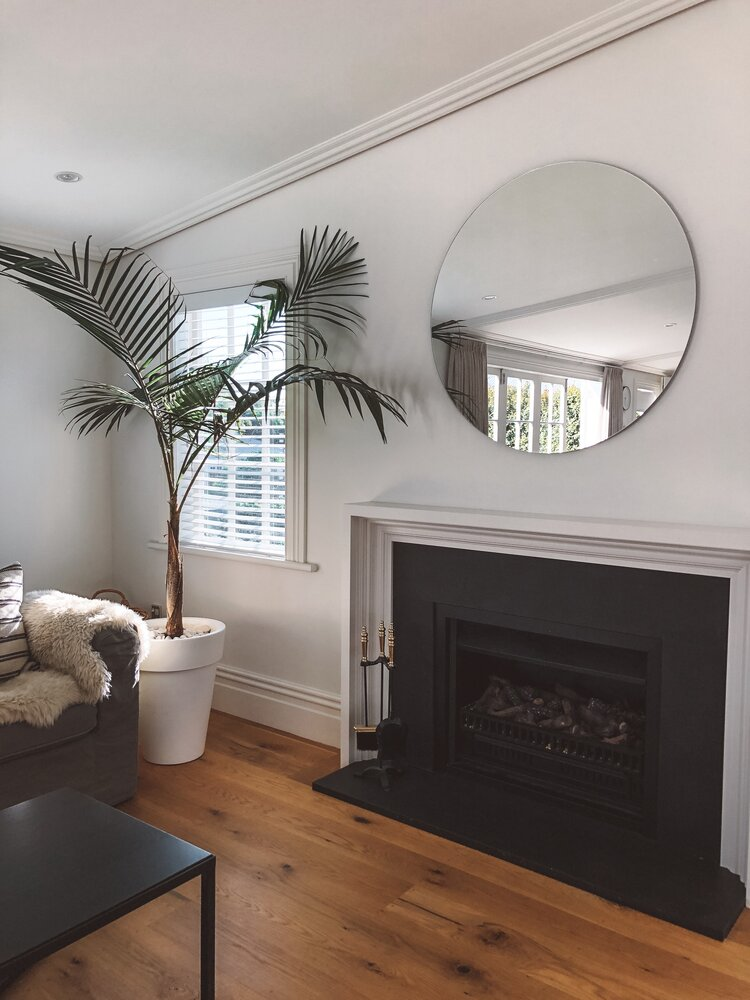circle mirror mantle fireplace