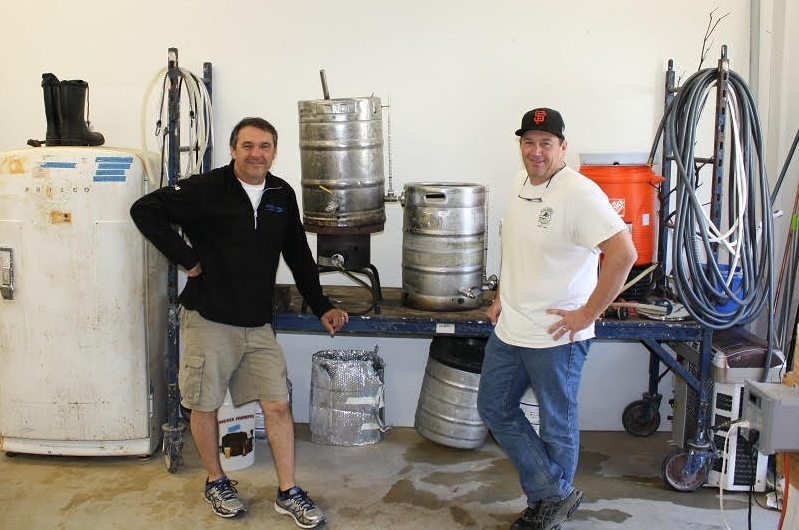 Joe and Matt with their original home brewing kit.