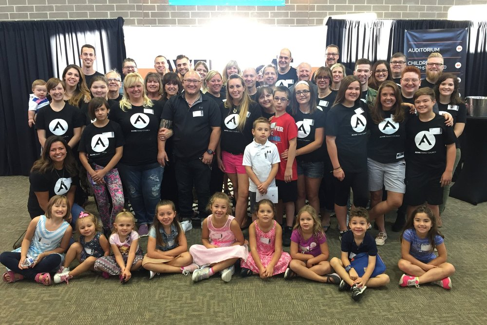 The Launch Team - the ordinal 34 adults & 17 kids that helped to launch Alive in Fall 2017.