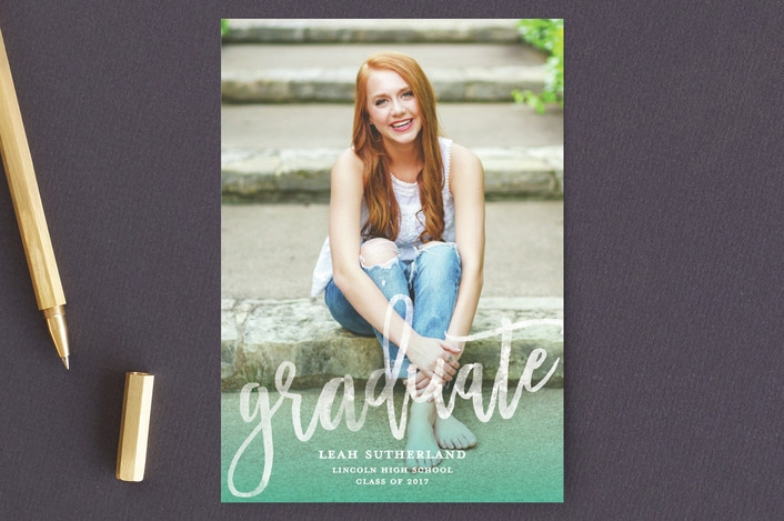 Modern Ombré graduation announcement