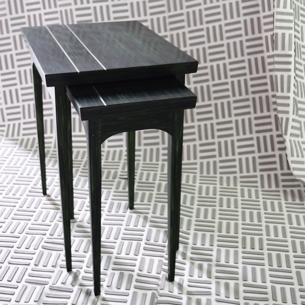 Elise Nesting Tables in Emerald|  Zimmer + Rohde'sSquares sheer