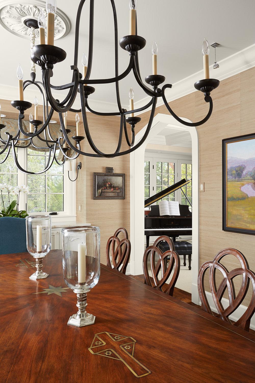 TALLA SKOGMO INTERIOR DESIGN  REGENCY DINING TABLE WITH CUSTOM INLAY [STYLE: W1031-201]  & HEART & DIAMOND CHAIRS [STYLE: W2005-201]