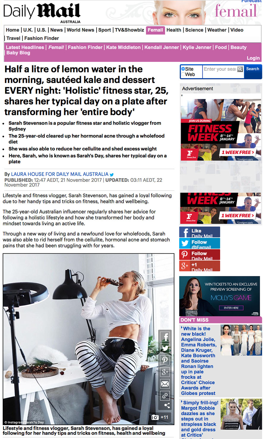 Daily Mail - Sarah's Day shares her typical day on a plate.