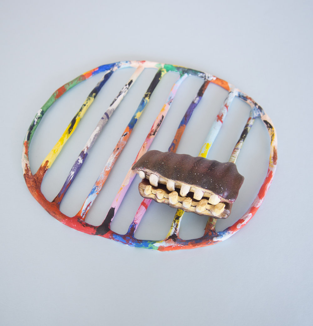 Grillwork     Cheralyn Lim   paint and collage on earthenware and paper clay
