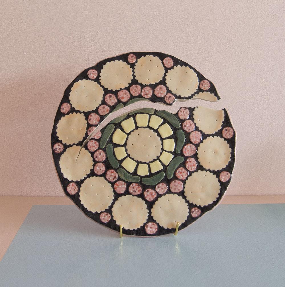 Cheese & Crack-ers    Esther Sandler   Stoneware, underglaze, glaze