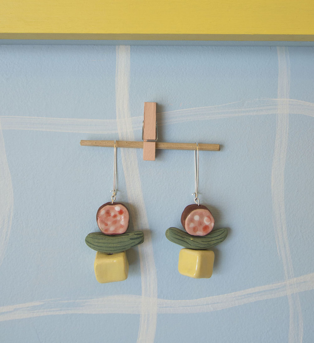 Perfect Earrings Don't Exi- 2: Kabana, Cornichon, Cheddar Cheese Esther Sandler Stoneware, underglaze, glaze, sterling silver
