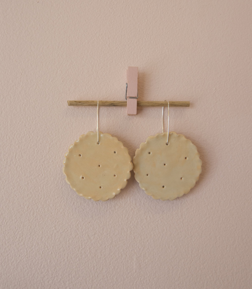 Perfect Earrings Don't Exi- 1: Savoy Cracker    Esther Sandler   Stoneware, underglaze, glaze, sterling silver