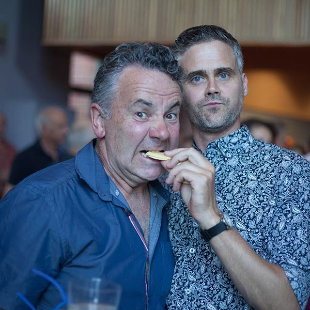 @michaelveitch_official and Simon Oats mingling at the Culture Tracks Launch in the Yarra Valley. Of course found snacking ... . Image: Kate Baker