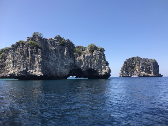 Two of the cliffs comprising Koh Ha.