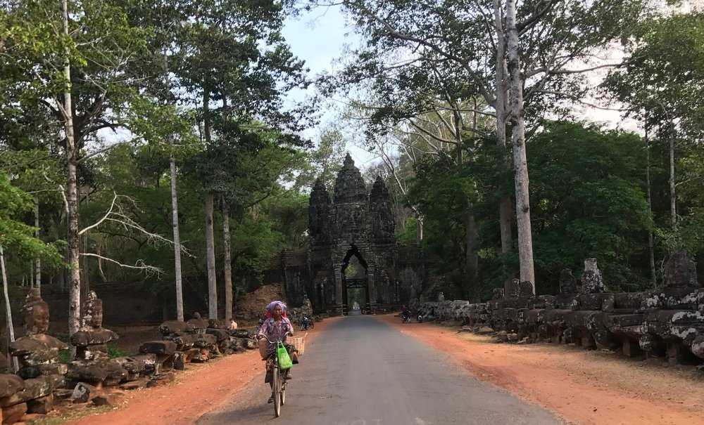 One of the city gates to enter Angkor Thom.