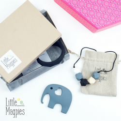 Our jewellery has been designed with Mums in mind. It's practical and pretty, looks great and is safe for baby to chew and fiddle with. It is perfect for babywearing, breastfeeding and of course when baby is teething.