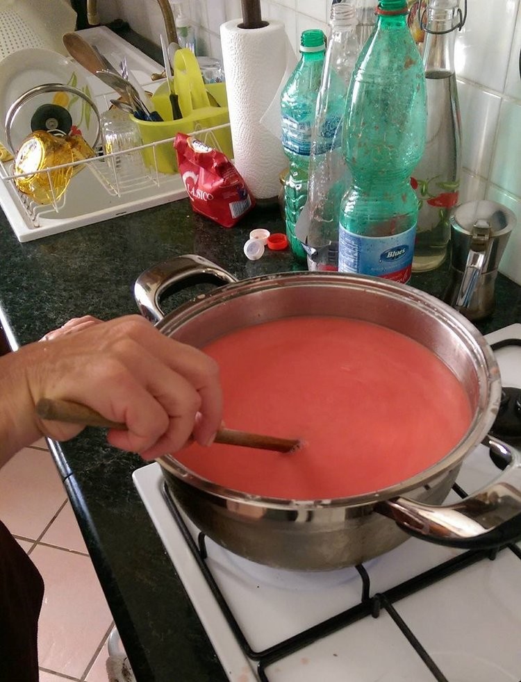 Stirring Watermelon Pudding