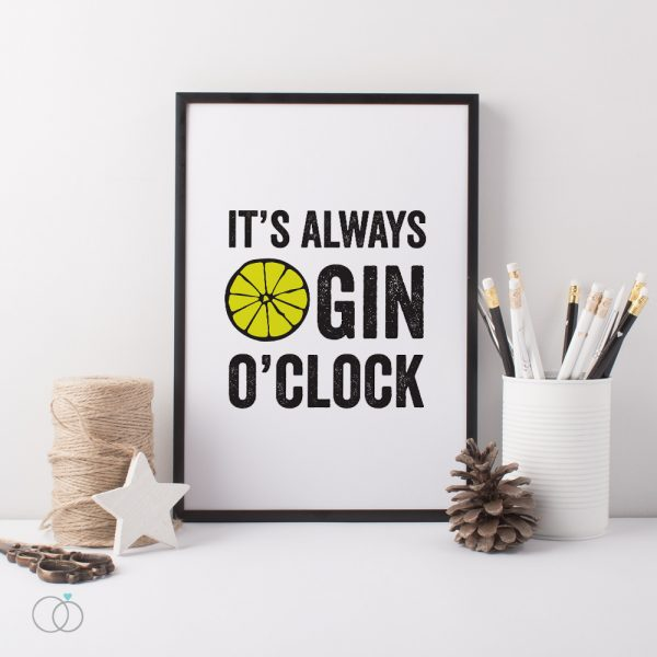 Gin O'Clock Desk Kitchen Print