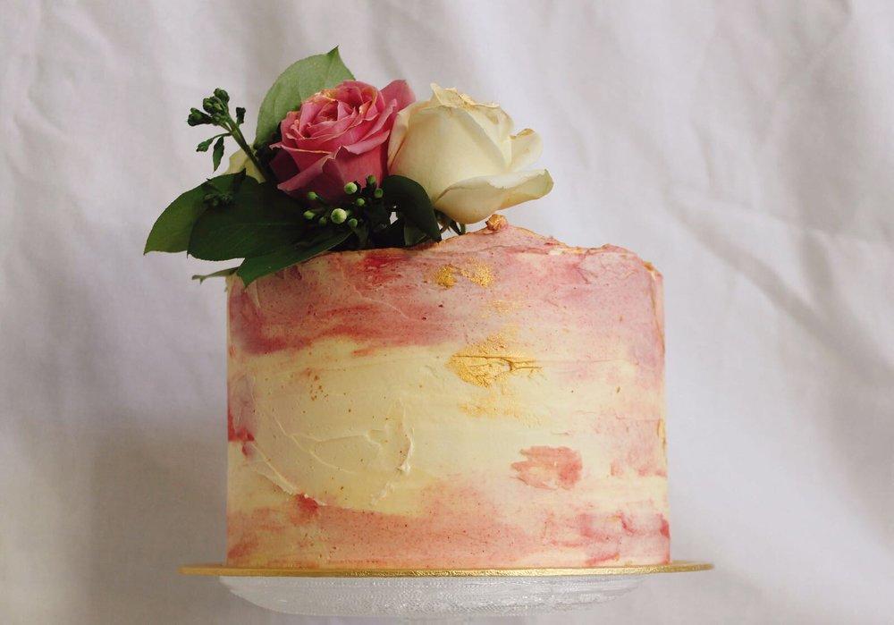 Den Bake Shop wedding cake pink.JPG