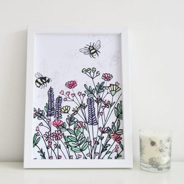Bee Wildflower Print   £10.00