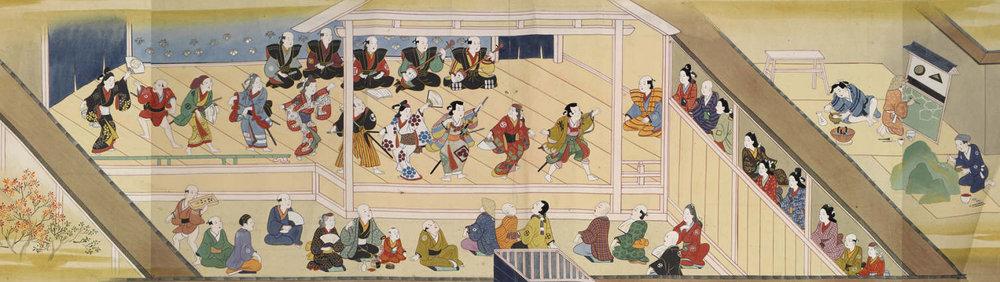 Furuyama Moromasa, street scene Tokyo, circa 1700