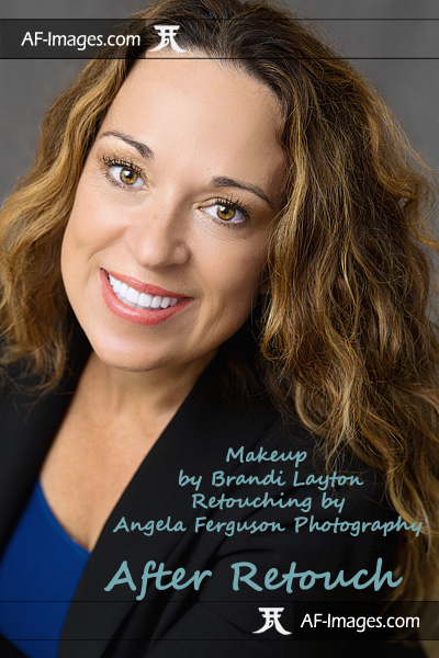 Portrait headshot photos with makeup, before and after retouching. (Copyright Angela Ferguson Photography 2015)