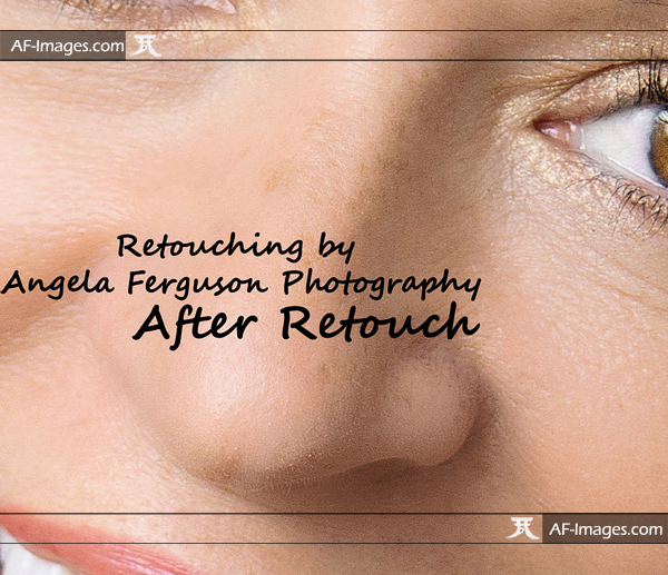 Closeup portrait headshot photos with makeup, before and after retouching. (Copyright Angela Ferguson Photography 2015)