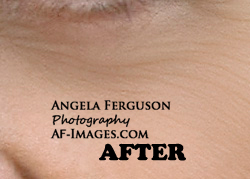 Sample of under-eye wrinkles retouching. (Copyright Angela Ferguson Photography 2015)