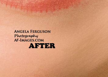 Sample of face/chin wrinkles and lipstick retouching. (Copyright Angela Ferguson Photography 2015)