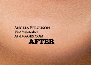 Sample of chin and acne retouching. (Copyright Angela Ferguson Photography 2015)