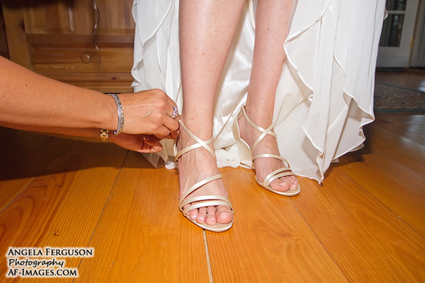 Lacing up the shoes on wedding day!