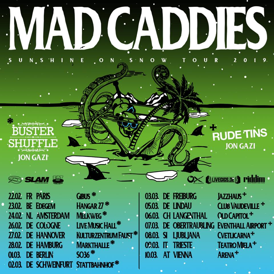 Super stoked to announce that we will be joining the awesome @madcaddiesofficial for some shows next year! This will be tip top so get your tickets now🤘🏻✊👊🤘  22.02. FR Paris - Gibus Club * 23.02. BE Edegem - Hangar 27 * 24.02. NL Amsterdam - Melkweg Amsterdam  26.02. DE Cologne - Live Music Hall * 27.02. DE Hannover - Kulturzentrum Faust * 28.02. DE Hamburg - Markthalle-Hamburg * 01.03. DE Berlin - SO36 * 02.03. DE Schweinfurt - Stattbahnhof Schweinfurt * @destinytourbooking @jongazi @rudetins #fatwreckchords