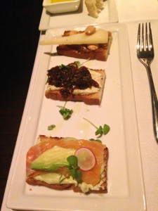 Crostini: Cured salmon, radish, cucumber yogurt, dill - Goat cheese, caramelized onion, chive - Manchego, fig, Marcona almond