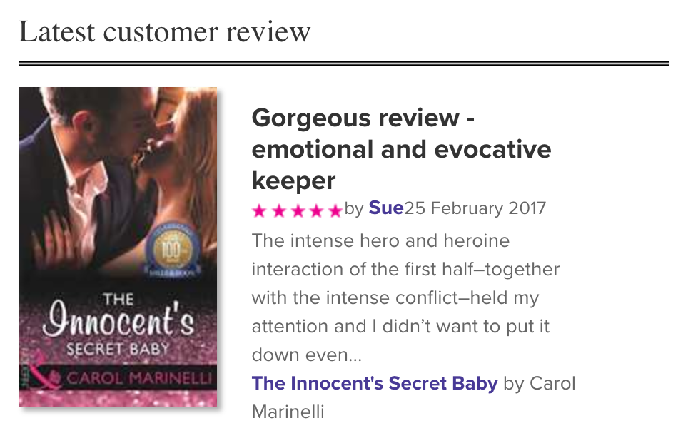 Screenshotted my review on millsandboon.co.uk home page before it moved