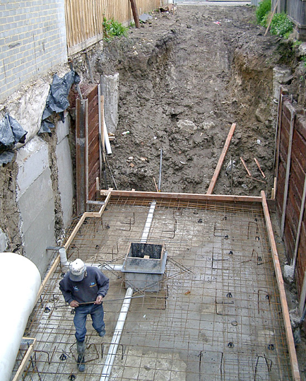 Concrete basement car park construction - Richmond