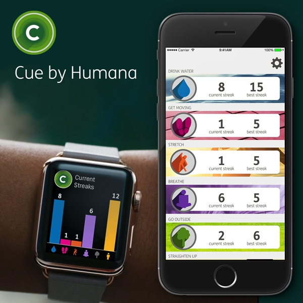 Cue (Spring 2015) Product Designer - Conceived, researched, built, tested, launched in just 5 weeks, Cue was one of the first Apple Watch apps. It encourages healthy behaviors by sending subtle reminders throughout the day - drink some water, take a walk, and more.