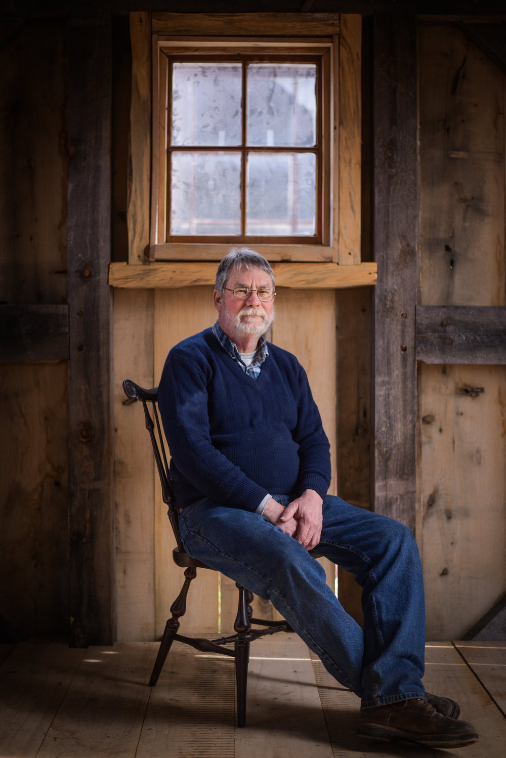 Instructor Jim Crammond in his timber framed work space.