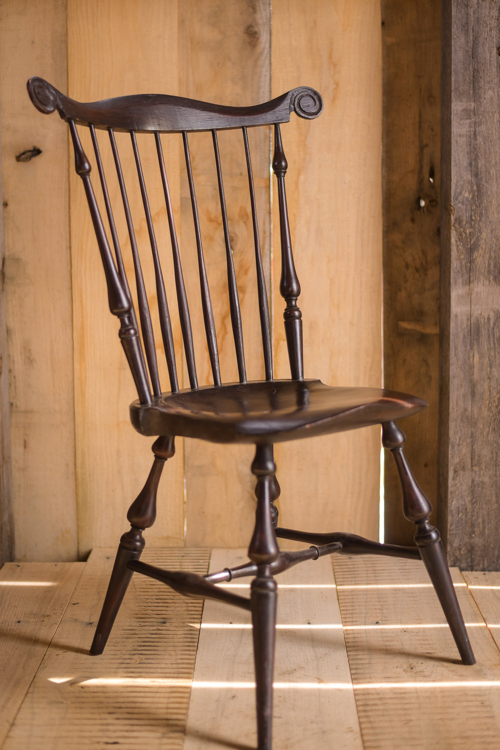 A fan-back Windsor chair from Jim's personal collection.