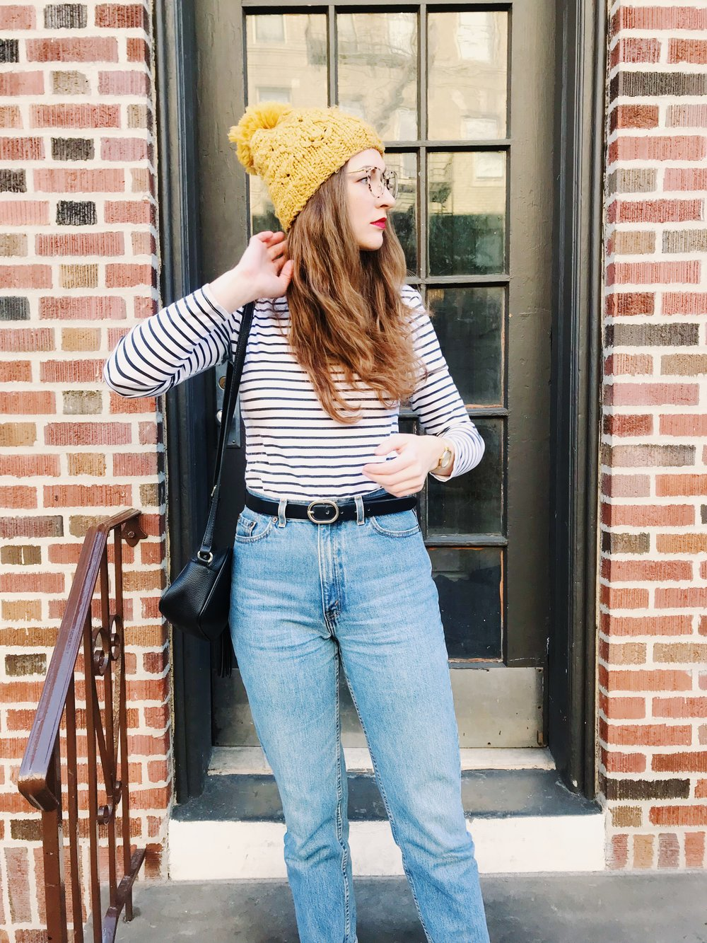 similar hat   here  from forever 21! similar jeans   here   (this is funny because i paid the exact same amount, except i got mine from a vintage store and they smell like cats.