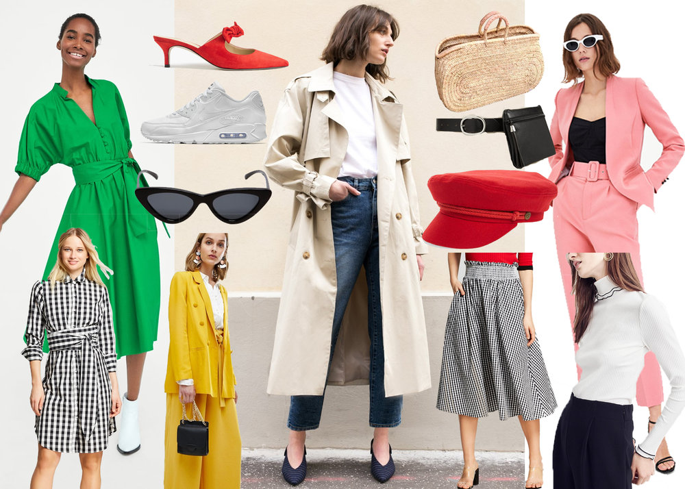 from left to right:  green dress ,  plaid dress ,  red heels ,  nike sneakers ,  sunglasses , yellow outfit ( here  and  here !),  trench coat ,  basket ,  fanny pack ,  red hat ,  plaid skirt , pink outfit ( here  and  here !),  white turtleneck