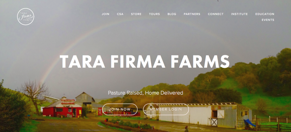 Tara Firma Farms' homepage.