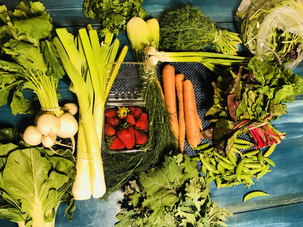 The contents of the produce box.