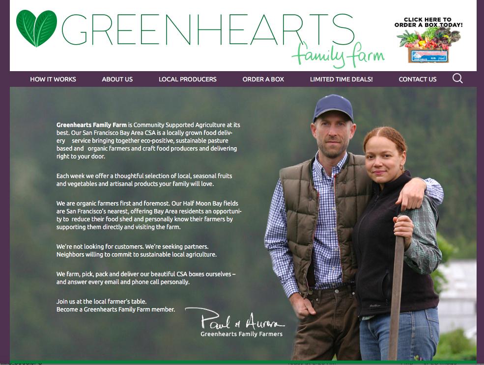 Greenhearts Family Farm homepage.