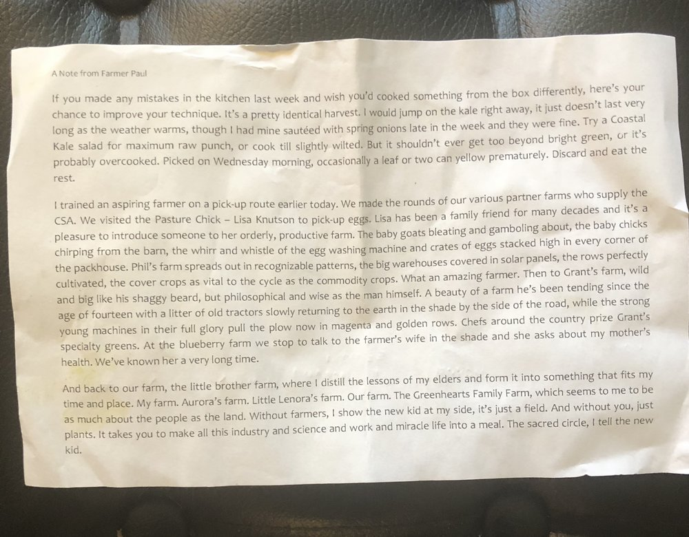 The note from farmer Paul.