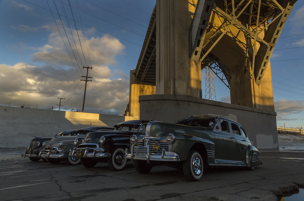 6th Street Viaduct and vintage low-riders, 2015.11.15.01