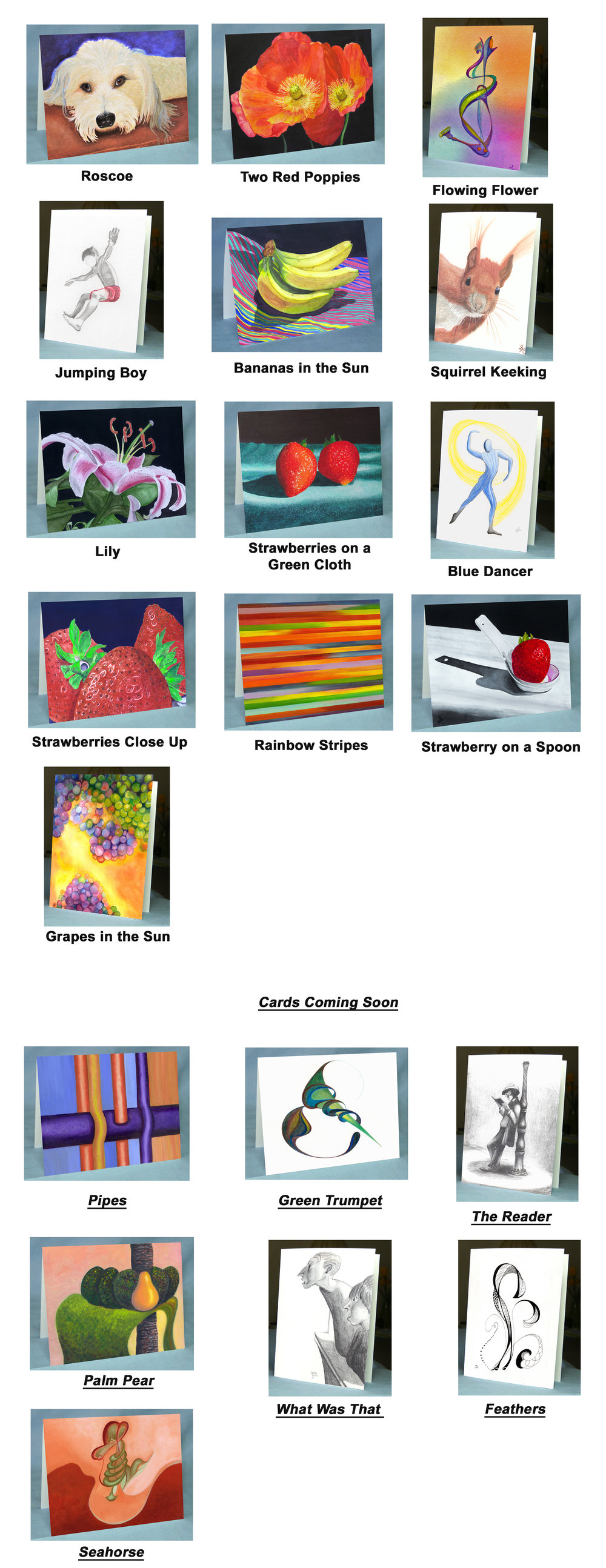 "All these high quality, colorful Greeting Cards are Prints of Sandra's artwork.    The Cards are 5""x 7"", and are blank inside for your own message. They come with an Envelope.    All Cards are $6 each, or 5 of any design for $25. Larger quantities are $5 each.    Choose the Cards you would like, and text or call Sandra to order: (619) 808-5163"