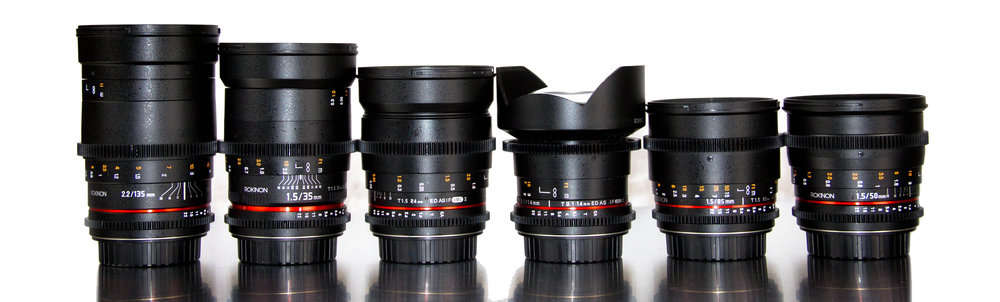Rokinon Cine DS Prime Set  -  14mm - T3.124mm - T1.535mm - T1.550mm - T1.585mm - T1.5135mm - T2.2-Metabones Canon-NEX SpeedBooster-Thread-on variable ND filter