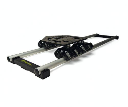 "GlideGear Speed Rail DevDolly  -  -Compact, lightweight dolly.  -8' of straight track (two 4' sections) and center support bracket -Dedicated fluid tripod head  -Tool kit and hardware-50lb+ load capacity-28 mounting points, with 1/4"" and 3/8"" taps"