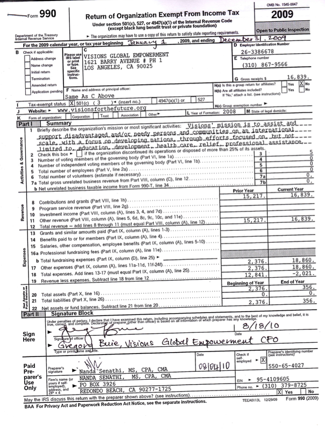 Visions 2009 Form 990 Tax Return