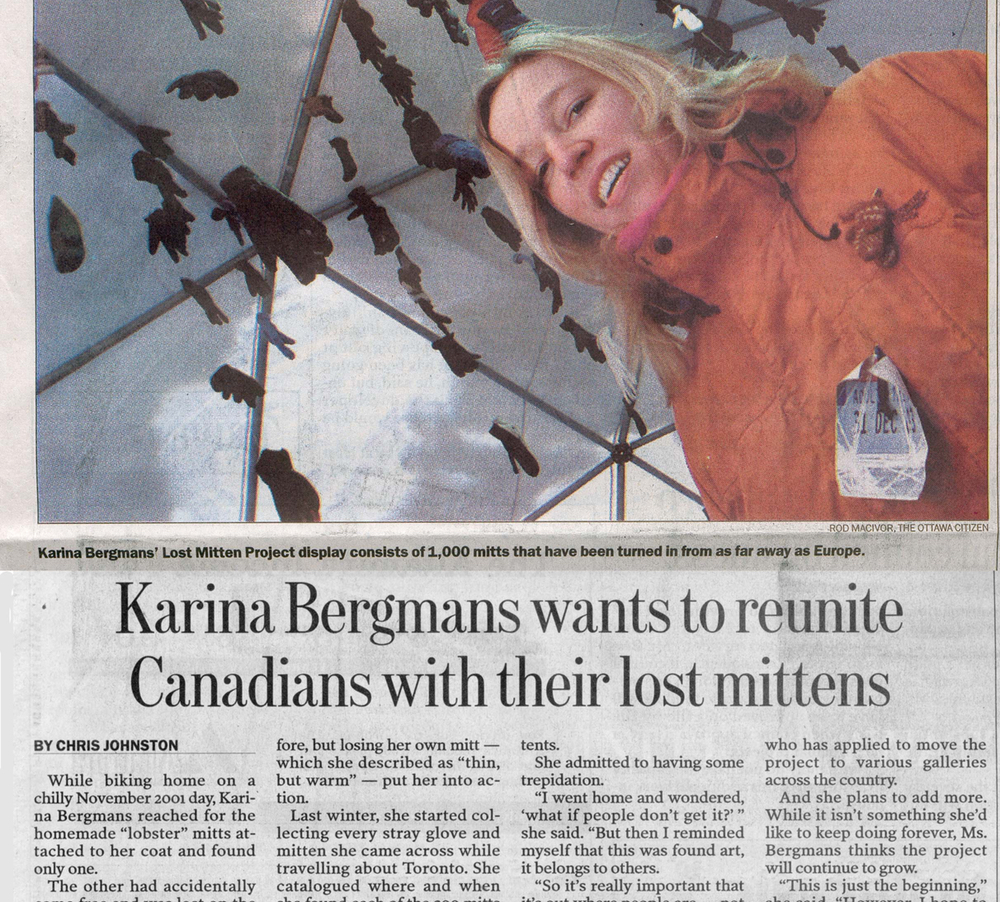Karina Bergmans wanted to reunite Canadians with their lost mittens, By Chris Johnston, Ottawa Citizen, February 2004