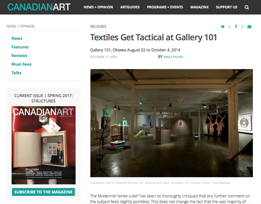 Textiles Get Tactical, by Emily Falvey, Canadian Art Magazine on-line, October 17, 2014