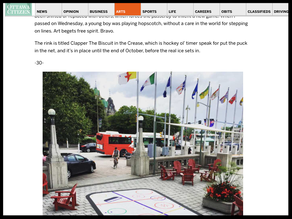 Coyotes and Hockey Rinks: New Public Art Abounds in Ottawa, by Peter Simpson, Ottawa Citizen, August 28 2015