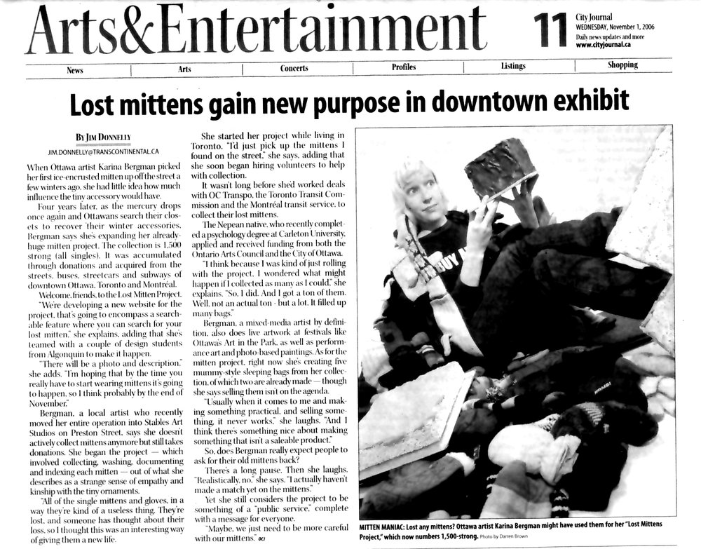 Lost Mittens Gain New Purpose in Downtown Exhibit, by Jim Donnelly, Ottawa City Journal, November 2006